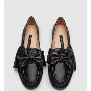 ZARA leather loafers  with bow brand new